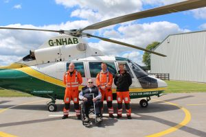 Bill Hasted with paramedic Terry Sharpe, paramedic Andy Dalton and Dr Dan Leach small