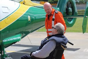GNAAS paramedic Terry Sharpe talking to Bill Hasted small