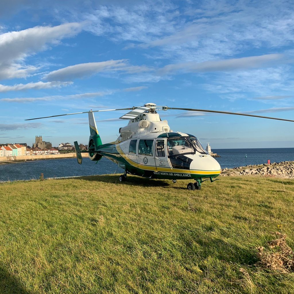 great north air ambulance service helicopter gnhac aircraft in hartlepool at seaside