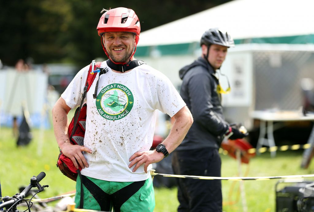 gnaas supporter at hamsterley beast wearing t-shirt