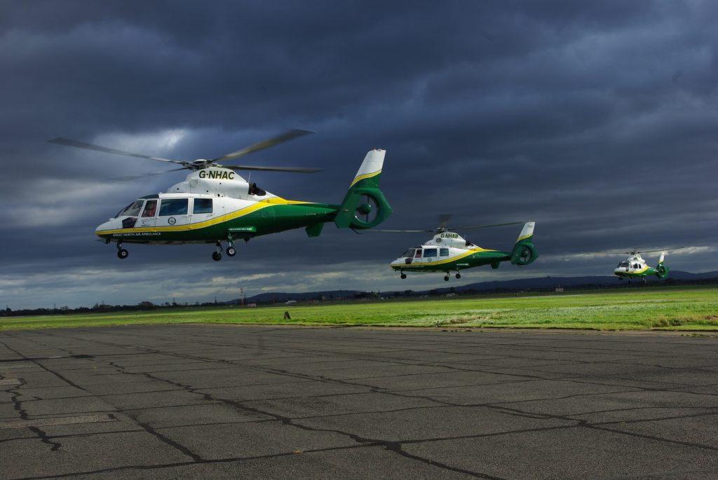 gnaas three helicopters at durham tees valley airport