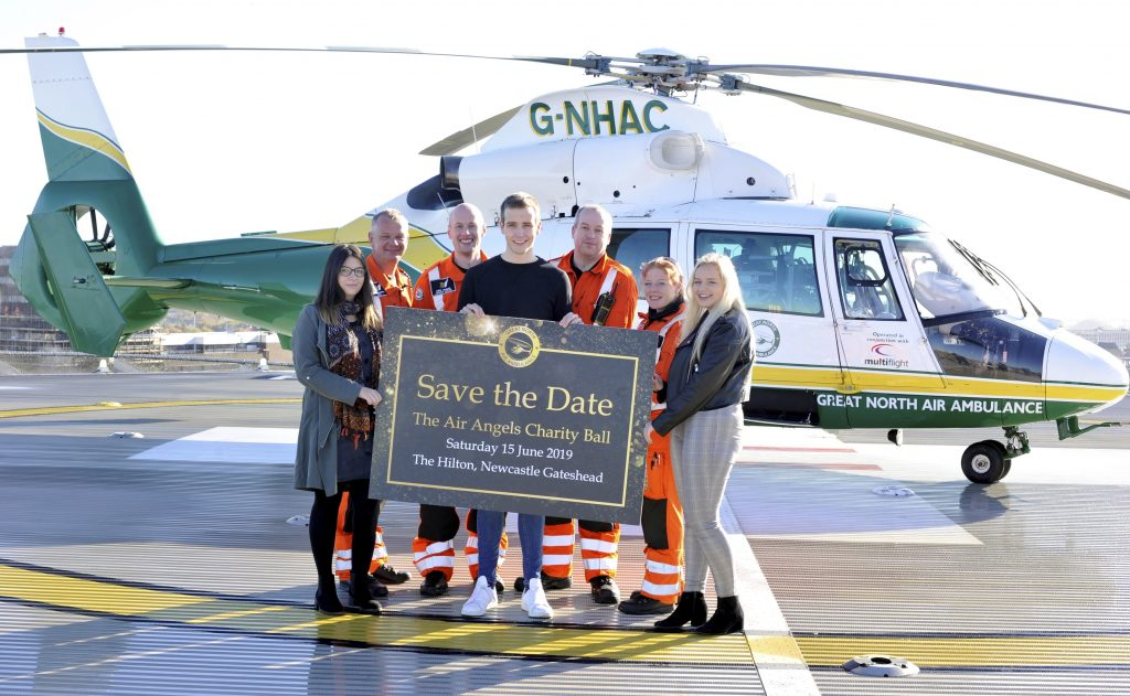 gnaas aircrew and patients promoting the air angels ball