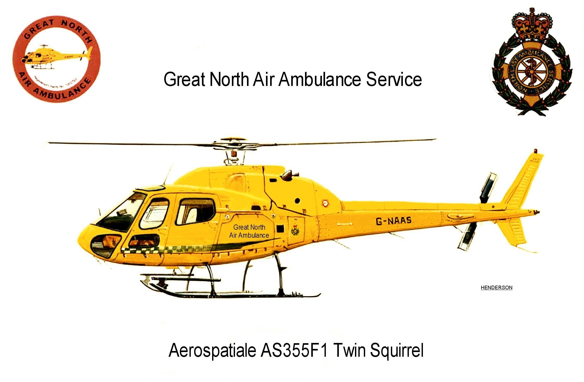 A drawing of G-NAAS helicopter
