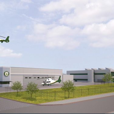 Artist impression of the Great North Air Ambulance base at Urlay Nook