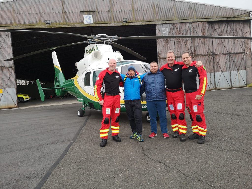 GNAAS paramedic Terry Sharpe, Christian Salaroli, Simone Celi, GNAAS pilot Jay Steward and GNAAS doctor Dion Arbid