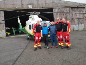 GNAAS paramedic Terry Sharpe, Christian Salaroli, Simone Celi, GNAAS pilot Jay Steward and GNAAS doctor Dion Arbid