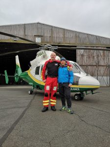 GNAAS paramedic Terry Sharpe with Christian Salaroli
