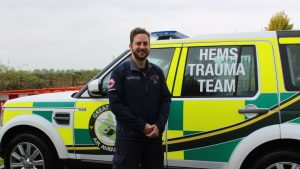 Neville Vlok of HALO on his visit to the Great North Air Ambulance Service