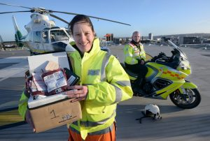 Rachel Hawes holding cool box
