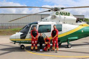 Pilot Phil Lambert, Alannah Maher, Dr Andy Barrington and paramedic Andy Dalton