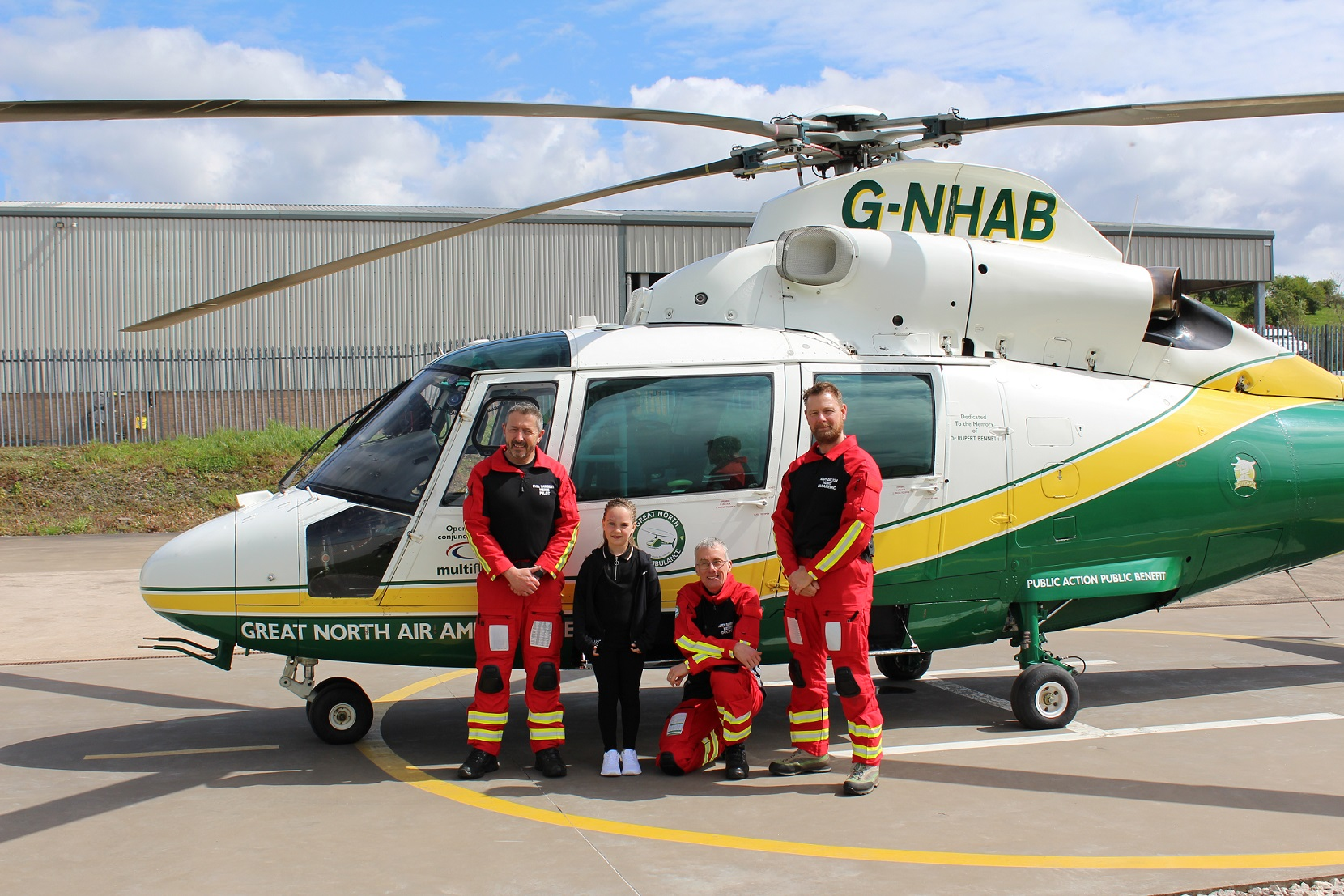 Pilot Phil Lambert, Alannah Maher, Dr Andy Barrington and paramedic Andy Dalton