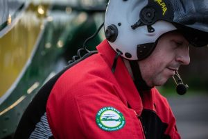 Paramedic Steve Miles preparing for shift with the Great North Air Ambulance Service