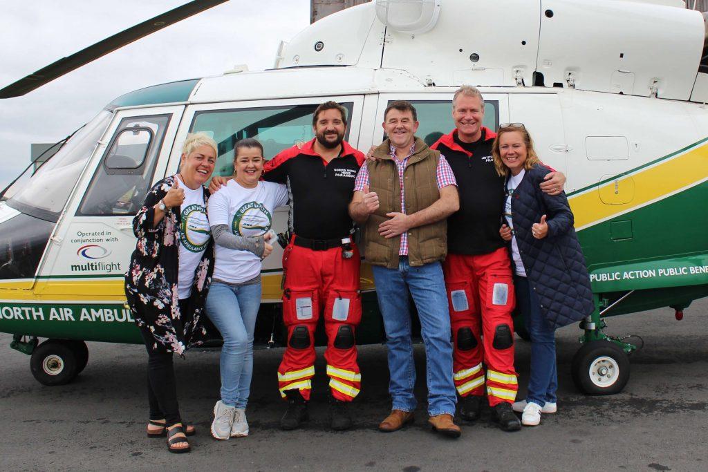 Debi Wills, Jane Spence, GNAAS paramedic Gordon Ingram, Mosh Spence, GNAAS chief pilot Jay Steward and Nikki Wills