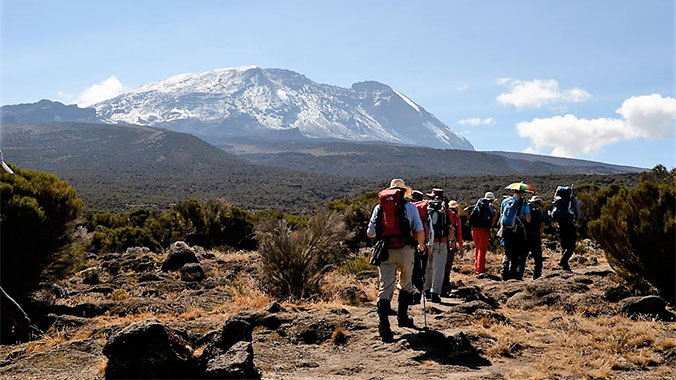 Crossing the Shira Plateau whilst climbing Kilimanjaro